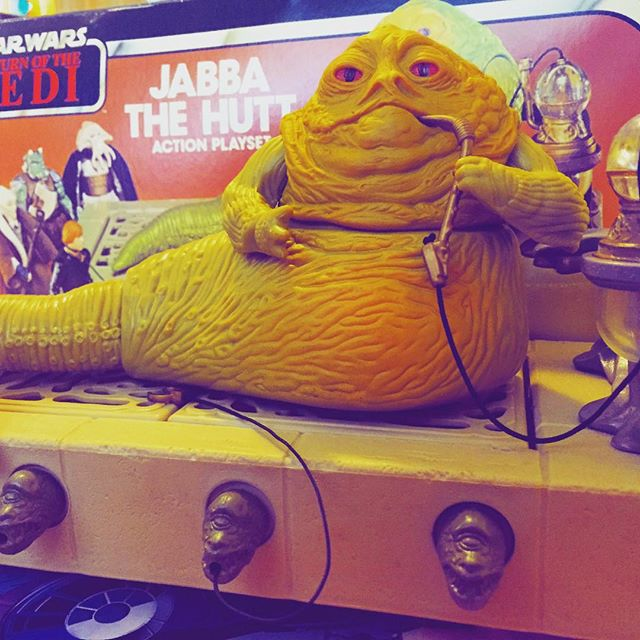 Jabba the Hutt complete with box. #Jabba #ROTJ #Jedi #StarWars #Ewok #r2d2 #c3po #forceawakens #force #MayTheForceBeWithYou #DarthVader #jabbathehutt #returnofthejedi #Wookie #HanSolo #ComicBook #shatteredempire #PrincessLeia