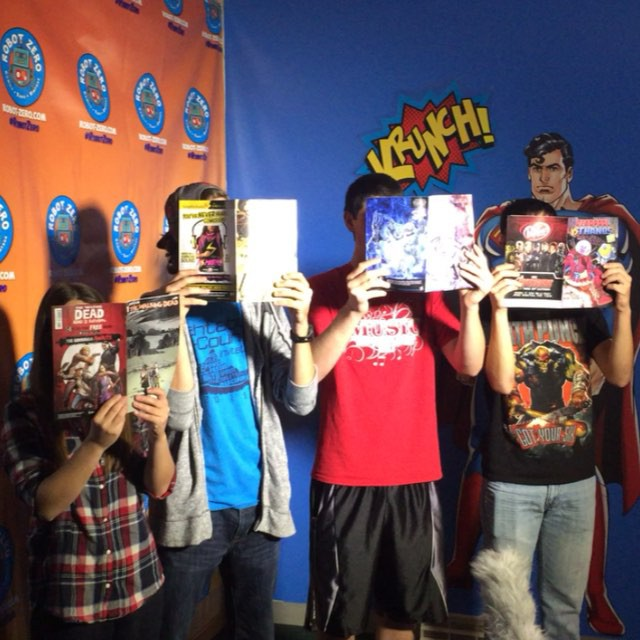 Thanks to Grow Geneva for filming their GHS video morning announcement at Robot Zero! #comics #ComicBook #superhero #superman #batman #ComicArt