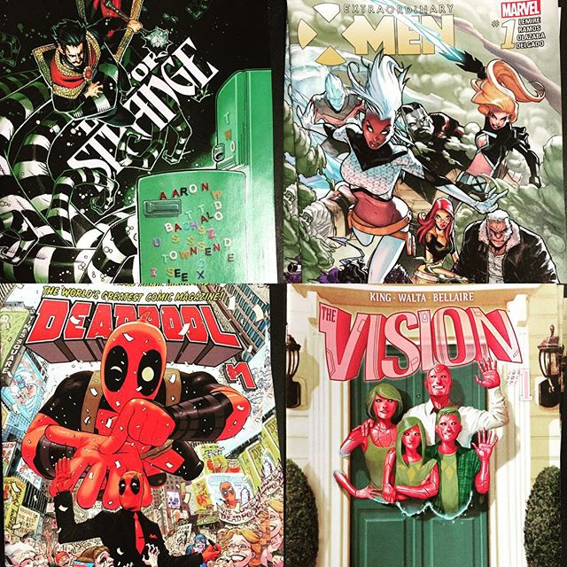 Dr. Strange #2, Deadpool #1, Extraordinary X-Men #1 and The Vision #1! All available at #robotzero the *only* comic shop in #ashtabula county! #GenevaOH