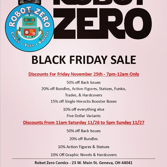 Click link for full image: http://robot-zero.com #BlackFriday #AshtabulaCounty #Genevaohio #GenevaOh #Ashtabula #Comics #ComicBooks #MarvelComics #eriepa #DCRebirth #dccomics