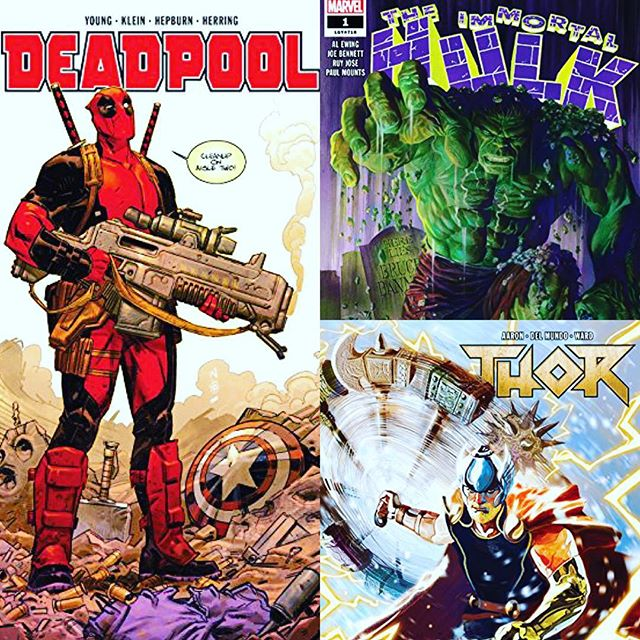 Don't miss these great new #1s from @marvel! I've read them all & can attest to their quality bub. Send 10 to http://PayPal.me/t2d2 w/ a note on which one you want and where to ship. Want more than one? Email info@robot-Zero.com or visit robot-Zero.com to purchase!..... #hulk #thor #deadpool #marvelcomics #marvel #comicbooks #comicbook #skottieyoung #incrediblehulk #immortalhulk #mightythor #comicart #comics #instacomics #instacomic #igcomicbookfamily #igcomicfamily #comicsforsale #comics4sale #comicsale #comicsforsale #comicbooks4sale