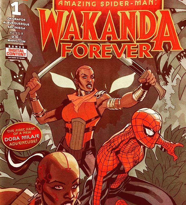 Amazing Spider-Man: Wakanda Forever #1 from @marvel comics. @nnediokorafor's story is so much fun, give this to kid! It's the perfect book to start a new comics fan on. #wakandaforever #wakanda #DoraMilaje #Okoye #BlackPanther #comics #comicbooks #comicbook #marvelComics #spiderman #hydroman @terrydodsonart's cover is AMAZING. #GenevaOH #AshtabulaCounty #Ashtabula #Bula #AmazingSpiderMan